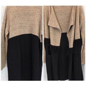 Long Sundance Sweater Black and Tan Size Large